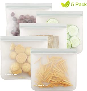 Reusable Sandwich Bags, FIREOR 5 Pack Ziplock Snack Bag Eco-friendly PEVA Freezer Bag, Extra Thick Extra Large BPA FREE, Perfect for Food Storage, Lunch, Make-up, Travel and Home Organization