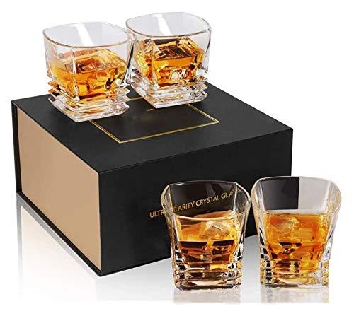 SYZHIWUJIA Base Pesante del Bicchiere di Vetro di Whisky, Vetro Scotch Quadrato di Cristallo Libero del Piombo per Bourbon o Whisky, Confezione Regalo di Lusso Unico, Set di 4 Decanter