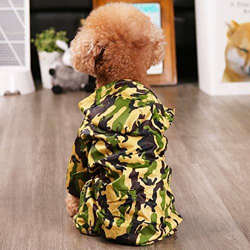 Corgi klaring regenjas Teddy Bichon puppy schnauzer kleine hond paraplu waterdichte poncho viervoetige huisdier kleding legergroen camouflage S