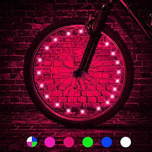 HUGEE Luz de Rueda de Bicicleta - Decoración de Eadios para Euedas De Bicicleta,Luces De Cadena De Rueda Impermeables,Visible Desde Todos Los ángulos,Aplicar Durante La Conducción Nocturna (Rojo)