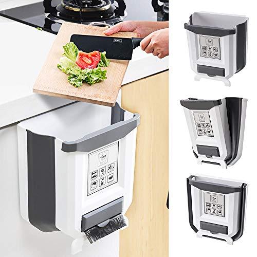 Nuevo Cubos Basura Plegable para Cocina con Caja de Bolsa de Basura,Cubo de Basura Colgando para Dormitorio Coche Oficina Baño,9L (Blanco-1 Pieza)