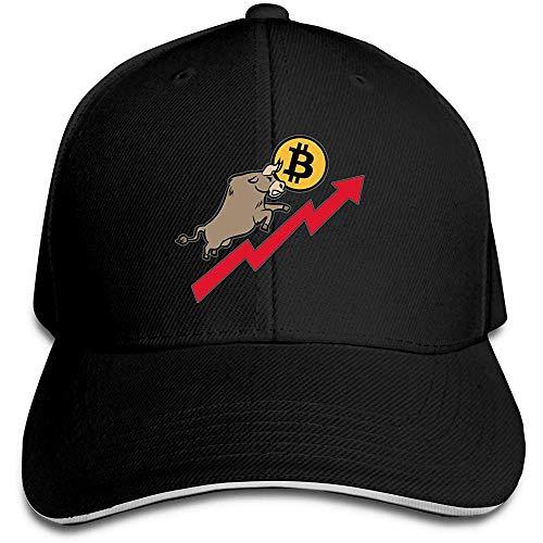 GodYo Bitcoin und Bull Stock Market Trucker Baseball Cap Peaked Sandwich Hut