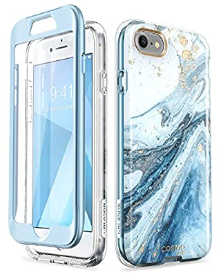 i-Blason Cosmo Series Designed for iPhone SE 2020 Case/iPhone 7 Case/iPhone 8 Case, [Built-in Screen Protector] Stylish Protective Bumper Case for iPhone SE (2020)/ iPhone 8/ iPhone 7 (Blue)