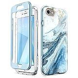 i-BLASON iPhone SE ケース [第2世代] iPhone 8 / iPhone7 ケース,2020 新型 二重構造 バンパー 液晶内置フィルム付き 全面保護 綺麗なデザイン ブルー[Cosmo Series]