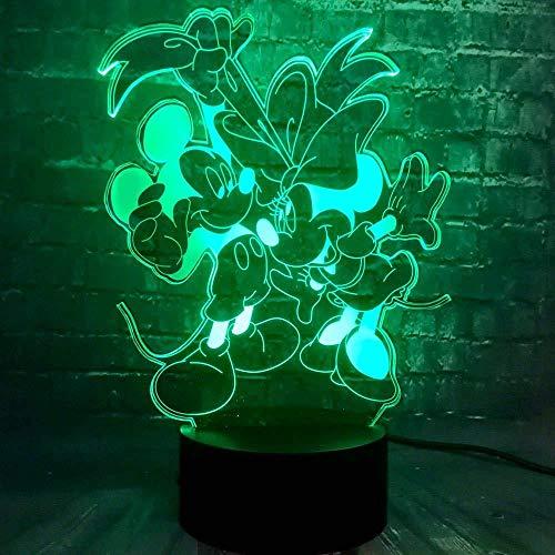 Mignon Minnie Cartoon Mouse 3D Veilleuse Led Lampe 7 Changement de Couleur Tactile USB Table Cadeau Enfants Jouets Chambre Décor De Noël Saint Valentin Cadeau D'anniversaire Cadeau