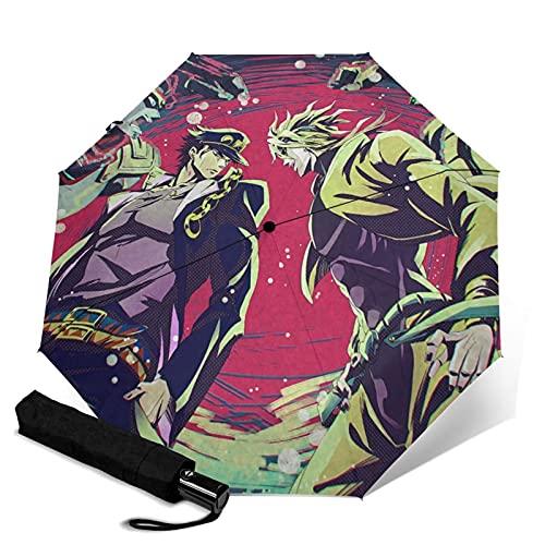 Anime JoJo's Bizarre Adventure Paraguas plegable automático portátil para mujeres y hombres reforzado a prueba de viento marco impermeable y resistente a los rayos UV
