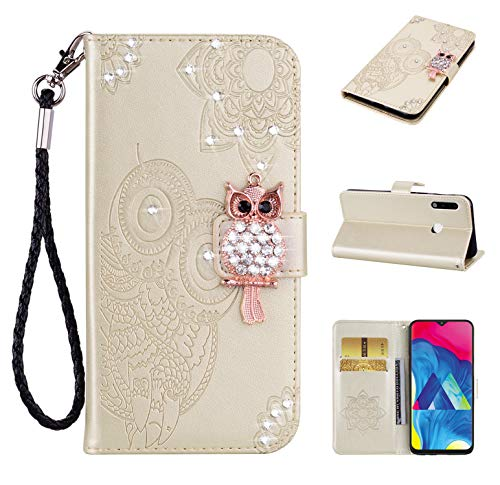 Cfrau Diamond Kickstand Case with Black Stylus for Samsung Galaxy A70E,Luxury Embossed Crystal 3D Owl Flower Bling Glitter Wallet PU Leather Shockproof Soft TPU Wrist String Case - Gold