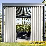 Wasserdicht, Verblassen Widerstandsfähig Terrasse Vorhänge Weiß 381B x 213H cm, Outdoor Vorhang...