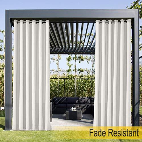 Wasserdicht, Verblassen Widerstandsfähig Terrasse Vorhänge Weiß 254B x 213H cm, Outdoor Vorhang mit Rustproof Ösen für Pergola, Cabana, Covered Patio, Gazebo