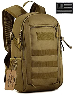 ArcEnCiel Small Tactical Backpack Military MOLLE Daypack Gear Assault Pack Camping Bag (Coyote Brown)