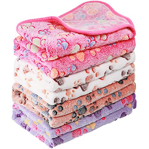 4 Pieces Paw Print Puppy Blanket for Pet Cushion Small Medium and Large Dog Cat Bed Warm Soft Sleep Mat, Fluffy Pet Dog Cat Puppy Kitten Soft Blanket Flannel Throw Doggy Warm Bed Mat (Small)