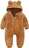 Otoño e Invierno Bebé Oso Orejas Pijamas de Felpa recién Nacido con Capucha Mono Chaqueta Caliente (Brown,90)