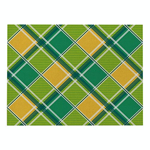 Placemat Plaid Printing Placemat Nordic Style Cotton Linen Non-Slip Waterproof Insulation Table Mat
