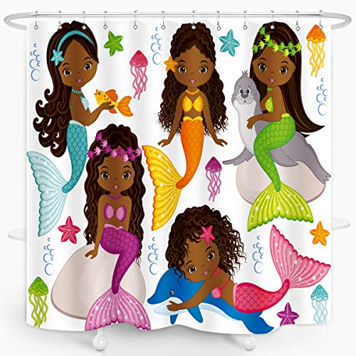 ZXMBF Mermaid Shower Curtain Black Girls Cute Cartoon...