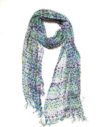 LICHT EN DELICAAT – CONFETTI NET WEAVE SCARF: Hand Loomed in India, een mooie sjaal die voor elke gelegenheid gedragen kan worden - 193cm x 33cm in maat