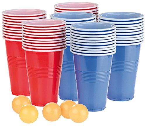 infactory Bierpong: Trinkspiel-Set Bier Pong mit 60 Bechern (je 450 ml) und 5 Bällen (Bierpong Set)