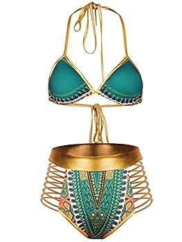 Zando Women Tribal Print Bikini African Metallic Swimsuit Two Piece Beachwear Cutout Halter Neck Bathing Suit Swimwear Green L  US Size 8-10