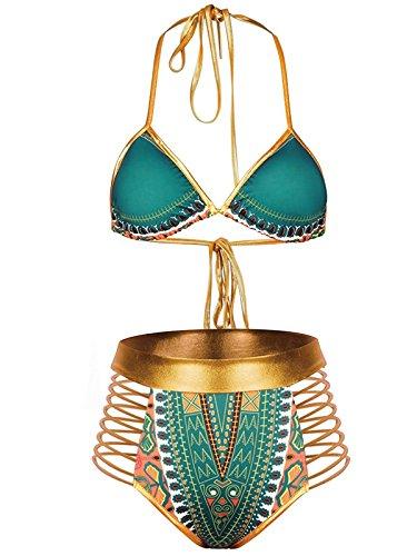 Zando Women Tribal Print Bikini African Metallic Swimsuit Two Piece Beachwear Cutout Halter Neck Bathing Suit Swimwear Green L (US Size 8-10)