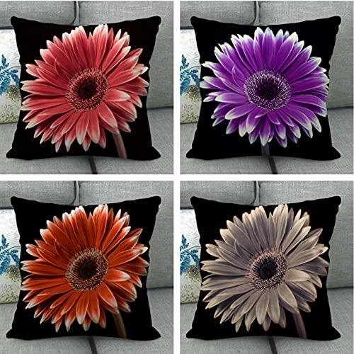 JOVEGSRVA Juego de 4 fundas de cojín de crisantemo, impermeables, para patio, jardín, banco, sala de estar, sofá, decoración de 45 x 45 cm