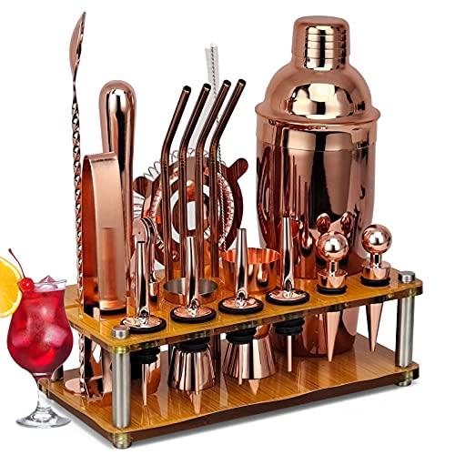 RRFZ 20-teiliges Cocktail-Set, 750 Ml Cocktail-Shaker-Sets Mit Einzigartigem Acryl-Display-Ständer Und Cocktail-Rezepte-Broschüre, Bar-Tools Für Die Home Bar Party