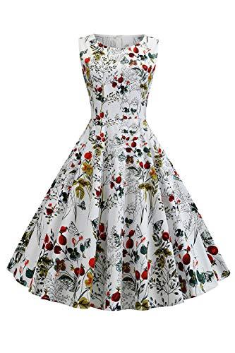MisShow Vintage Cocktailkleid Abendkleid Hohe Bund Tanzkleid Swing Rockabilly Alltageskleid XL