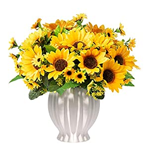 Silk Flower Arrangements Homsunny Artificial Flowers in Ceramics Vase, Fall Silk Flower Arrangements, Faux Sunflowers Bouquets with Vase for Home Office Desktop Decoration (Stripe Ceramic Sunflower)