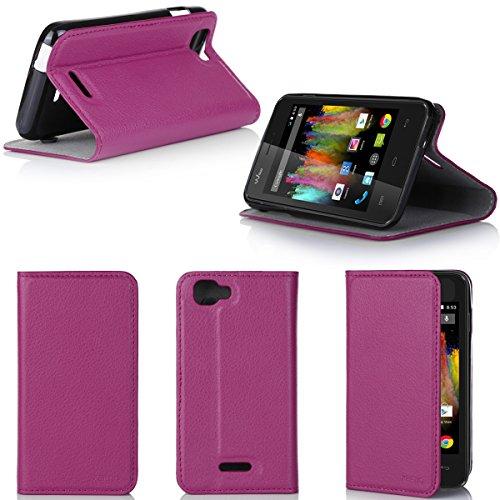 Wiko Kite 4G Tasche Leder Hülle rosa Cover mit Stand - Zubehör Etui Wiko Kite 4G LTE Flip Case Schutzhülle (PU Leder, Handytasche pink) - XEPTIO accessories