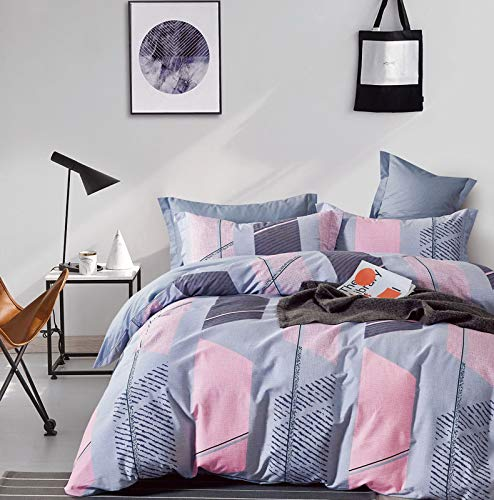 Miraladen bettwäsche 135x200 Baumwolle und 1 mal Kissenbezug 80x80 2 teilig grau Bettbezug Set kuschelig flauschig bettwäsche Set Duvet Cover rosa bettdeckenbezug mit reißverschluss Zipper