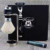 Haryali London Kit de afeitado para hombre, 4 unidades, 3 filos, con cepillo de afeitado de pelo de tejón blanco puro, soporte y aluminio, juego perfecto para hombres