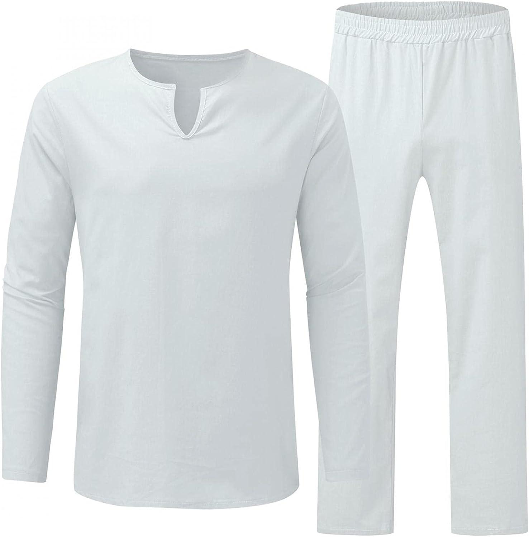 JSPOYOU Men's Casual Cotton Linen 2 Pieces Pajamas Long Sleeve Henry Shirt & Pants Suit Fashion Baggy Athletic Sportswear