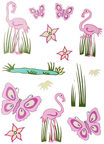 alles-meine.de GmbH 14 TLG. Set: Fensterbilder / Sticker -  Schmetterlinge & Flamingo  - Fensterbild Aufkleber für Kinderzimmer - Kinder - Wandtattoo Wandsticker Fensterfolie -..