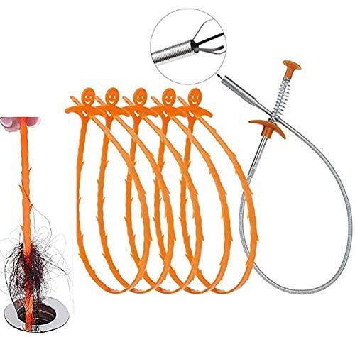 Yeaser Abflussschlange Haarentferner Duschablauf Haarfänger Reinigungswerkzeug Kit für Küche Waschbecken Badewanne Dusche (1 Abflussschlange Verstopfungsentferner + 5 Stück Abflussreinigungswerkzeug)