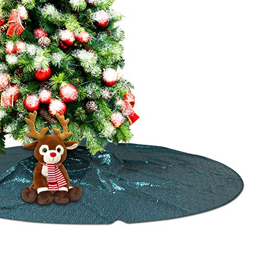 Eternal Beauty Teal Sequin Tree Skirt 50Inch Christmas Tree Skirt Embroidered Sparkly Xmas Tree Ornament Christmas Decoration