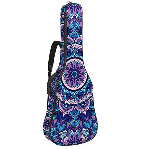 Funda acolchada para guitarra eléctrica, diseño de mandala, color morado