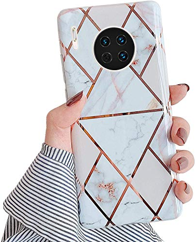 Herbests Kompatibel mit Huawei Mate 30 Hülle Handyhülle Weich TPU Silikon Schutzhülle Marmor Muster Glänzend Glitzer Bling Ultra Dünn Soft Handytasche Bumper Case Etui,Weiß Gold