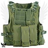 Militac - Chaleco táctico Delta,perfecto para airsoft, asalto, combate; incluye bolsillos portacargadores, verde