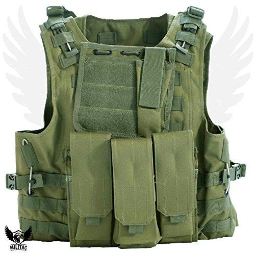 Militac, Delta, gilet tattico, ideale per softair e paintball, Green