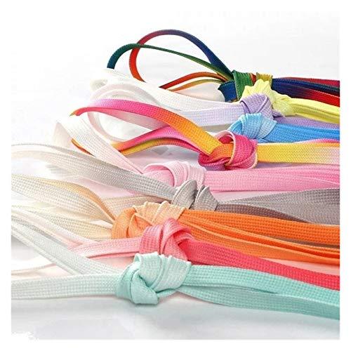 Jacky's 1 par de cordones de seda coloridos para acampada, botas de acampada, cordones de lona, zapatos de acampada, arcoíris creciente (color: color de seda arco iris, tamaño: 120 cm)