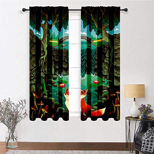 Outdoor Curtains for Patio Waterproof 96 inch Length, Cartoon Drapes for Bedroom 84' x 96' - Fox Near The Pond Mushrooms Waterlilies and a Waterfall Illustration, Forest Green Sky Blue