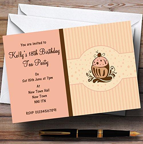 Feest & Disco nodigt Chocolade Cupcake Vintage Thee Gepersonaliseerde Party Uitnodigingen met Enveloppen - Elke Aangepaste Tekst Voor Elke gelegenheid 200 Cards & Envelopes BRON