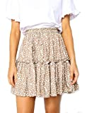 Relipop Women's Flared Short Skirt Polka Dot Pleated Mini Skater Skirt with Drawstring (T3, Small)