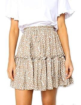 Relipop Women s Flared Short Skirt Polka Dot Pleated Mini Skater Skirt with Drawstring  T3 X-Large