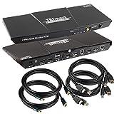 TESmart DisplayPort + HDMI 4x2 Dual Monitor KVM Switch for 2 PCs + 2 Monitors 2 Ports Updated 4K @ 60Hz (Black)