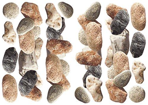 Décoration adhésive 157018 Galets, Polyvinyle, Marron/Gris, 21 x 0,1 x 29,6 cm