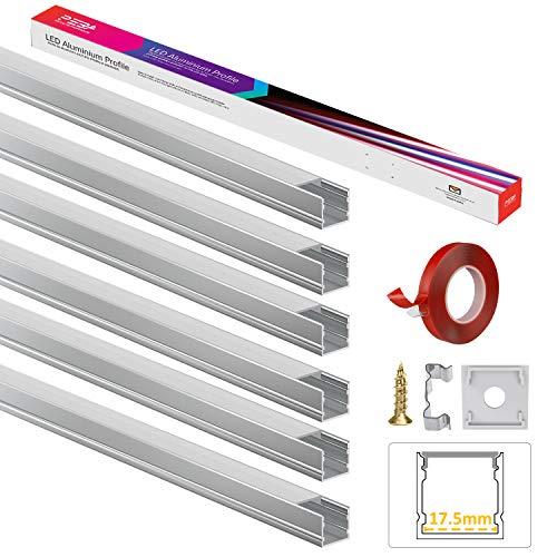 Profilo LED, profilo alluminio LED, a forma di U, 6 x 1 m, extra largo 17,5 mm, con copertura in PC. Diffusori LED con adesivo 3M, tappi terminali, clip di montaggio, per strisce di luci LED