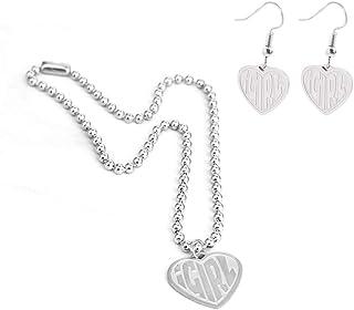 2 Pcs iGirl Heart Pendant Necklace Cute iGirl Dangling Earrings Set Heart-Shaped Chain Necklace Drop Earrings Female Symbo...