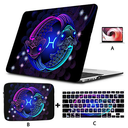 Macbook Covers Blue And Purple Carps Yin Yang Shape Macbook Air Computer Case Hard Shell Mac Air 11'/13' Pro 13'/15'/16' With Notebook Sleeve Bag For Macbook 2008-2020 Version