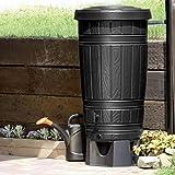 Regenwassertonne Regentonne Regenbehälter Regentank Amphore 265L 2 Farben Wasserhahn wählbar (Schwarz)