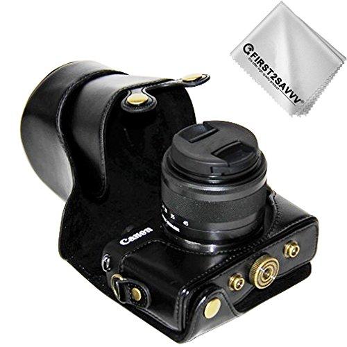 First2savvv negro Calidad premium Funda Cámara cuero de la PU cámara digital bolsa caso cubierta con correa para Canon EOS M100 EOS M10 con lente de 15-45 mm XJD-EOS M100-01G11