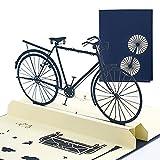 Tarjeta emergente Tarjetas 3D Tarjeta de cumpleaños Tarjetas de felicitación Tarjeta del día de la madre Tarjeta de felicitación creativa Bicicleta plegable 3D Cubierta azul 10 * 15 cm
